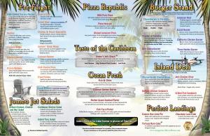 "The menu features carribean classics like chili and ""jokes"""